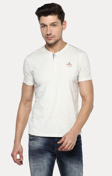 spykar | Off White Melange Slim Fit T-Shirts