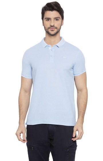 spykar | Spykar Light Blue Solid Slim Fit Polo T-Shirt