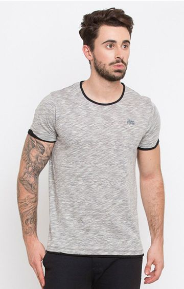 spykar | Spykar Grey Melange Slim Fit T-Shirts