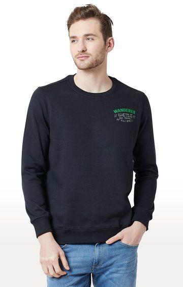 spykar | Spykar Navy Solid Slim Fit T-Shirts