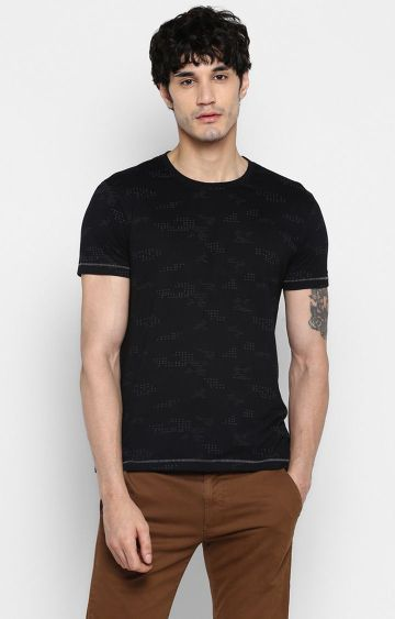 spykar | Spykar Black Printed Slim Fit T-Shirts