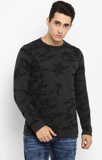 spykar | Spykar Grey Camouflage Slim Fit T-Shirts