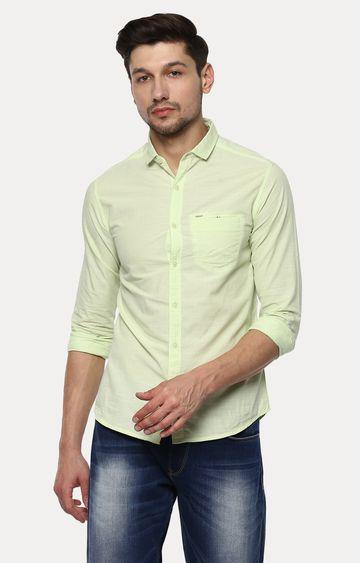 spykar | Spykar Lime Melange Slim Fit Casual Shirts