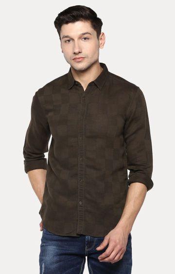 spykar | Spykar Brown Checked Slim Fit Casual Shirts