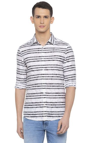 spykar | Spykar Off White Striped Slim Fit Casual Shirt