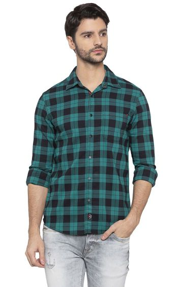 spykar | Spykar Green Checked Slim Fit Casual Shirt
