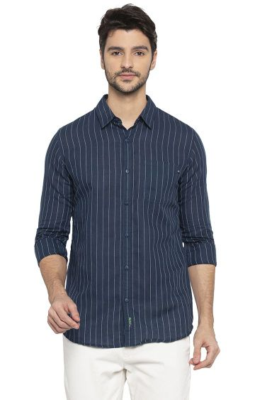 spykar | Spykar Navy Striped Slim Fit Casual Shirt