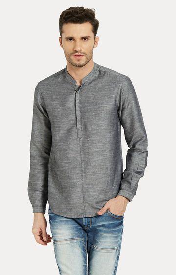 spykar | Spykar Dark Grey Melange Slim Fit Shirts