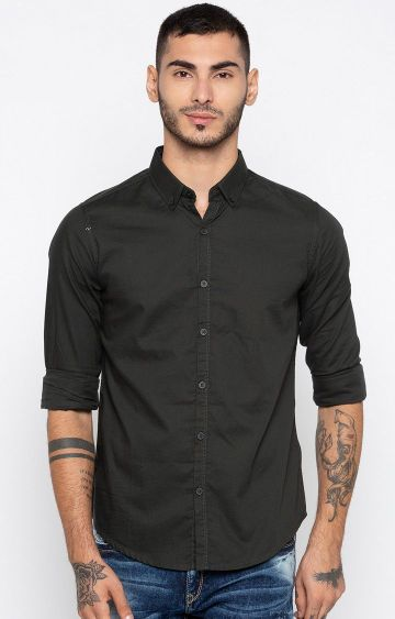 spykar | Spykar Black Solid Slim Fit Casual Shirts