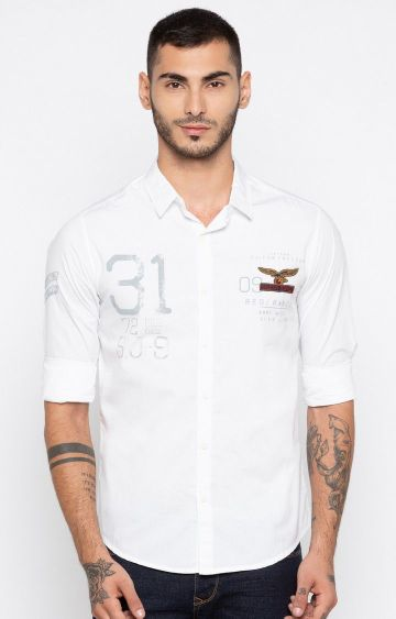 spykar | Spykar White Printed Slim Fit Casual Shirts