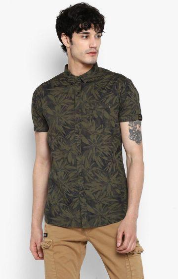 spykar | Spykar Olive Printed Casual Shirt