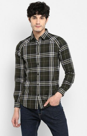 spykar | Spykar Olive Checked Slim Fit Casual Shirts