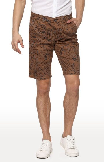 spykar | Spykar Brown Printed Slim Fit Shorts