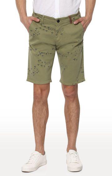 spykar | Spykar Grass Green Printed Slim Fit Shorts
