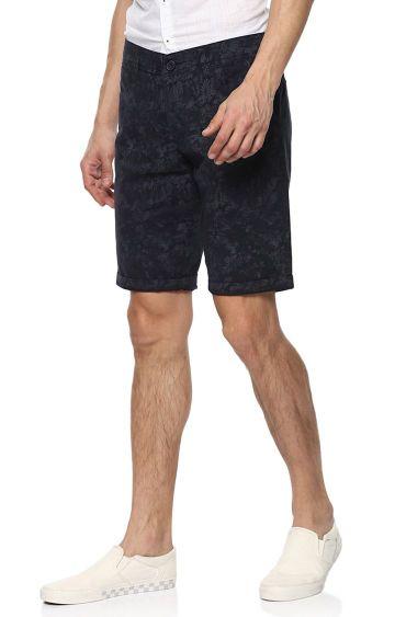spykar | Navy Blue Printed Slim Fit Shorts