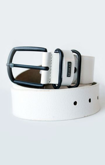 spykar   Spykar White Leather Belt