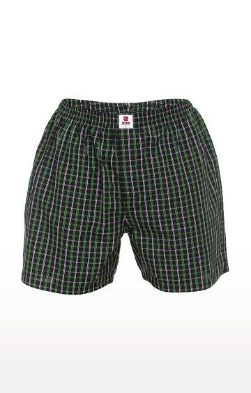 spykar | Spykar Green Checked Slim Fit Boxers