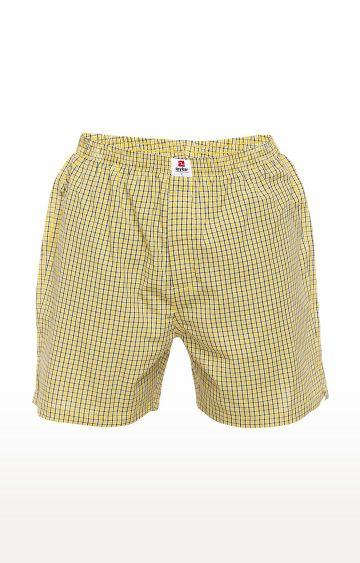 spykar   Spykar Yellow Checked Slim Fit Boxers