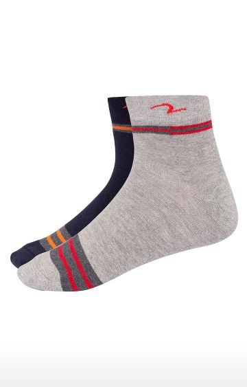 spykar | Spykar Grey & Navy Striped Ankle length Socks
