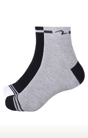 spykar | Spykar Black & Grey Solid Ankle length Socks