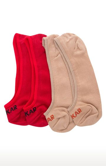 spykar | Spykar Red and Beige Solid Socks - Pack of 2