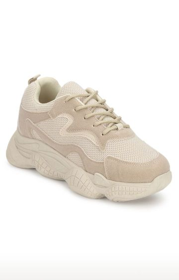 Truffle Collection | Beige Casual Lace-ups