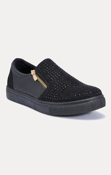 Truffle Collection | Black Casual Slip-ons