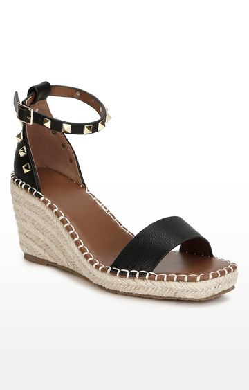 Truffle Collection | Black Straped Jute Wedges