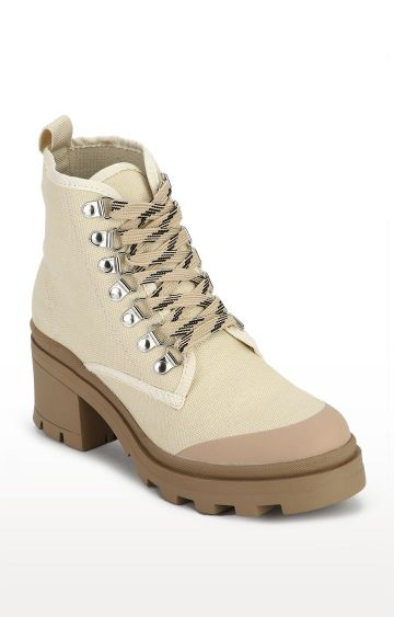 Truffle Collection | Beige Canvas Lace-up Block Heel Ankle Boots