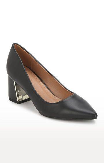 Truffle Collection   Black PU Belly Low Block Heels