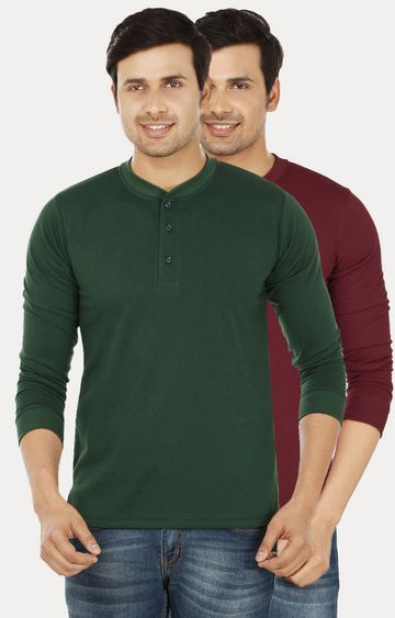Weardo | Green and Maroon Solid T-Shirt - Pack of 2
