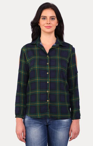 Smarty Pants | Green Checked Casual Shirt