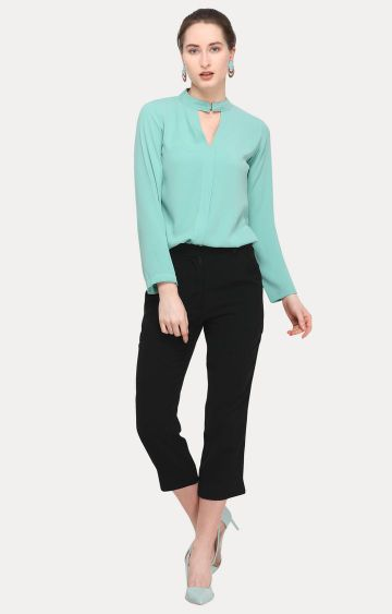 Smarty Pants | Sea Green and Black Solid Top and Pant Set