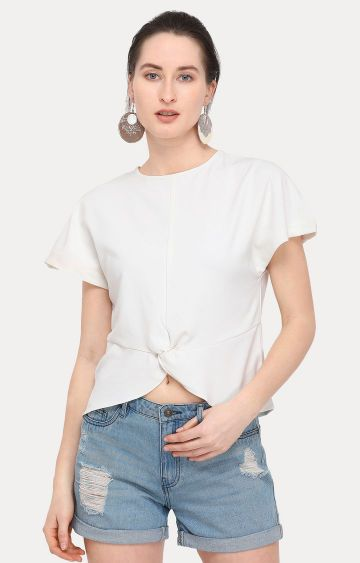 Smarty Pants   White Solid Top