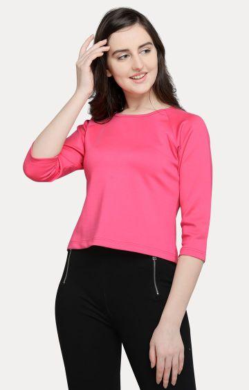 Smarty Pants   Pink Solid Crop Top