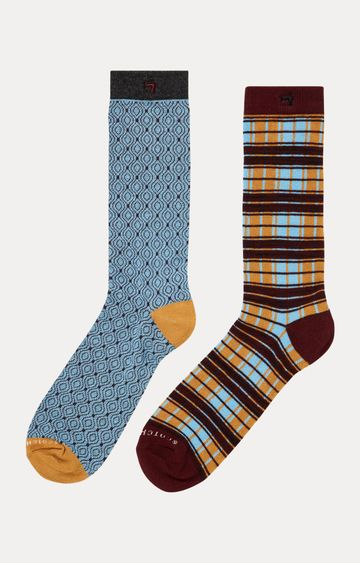 Scotch & Soda   Blue and Brown Printed Socks - Pack of 2