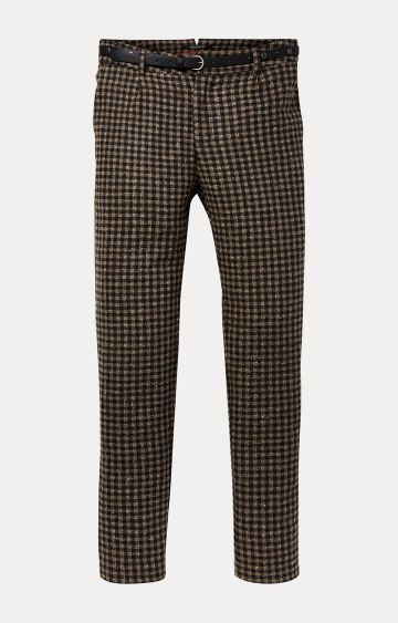 Scotch & Soda   Brown Checked Straight Trousers