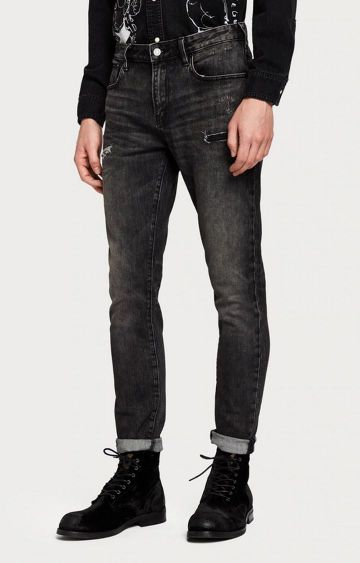 Scotch & Soda | Black Ripped Tapered Jeans