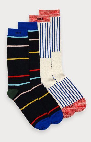 Scotch & Soda | Black and White Striped Socks - Pack of 2