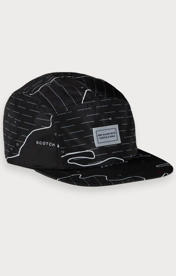 Scotch & Soda | Blauw nylon cap with plastic clip closure