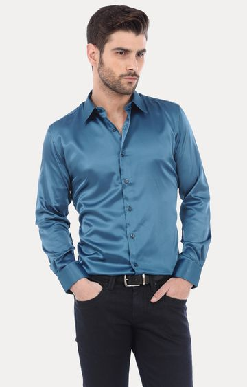 Basics | Teal Solid Formal Shirt