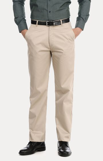 Basics | Beige Flat Front Formal Trousers
