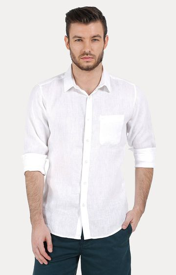 Basics | White Melange Casual Shirt
