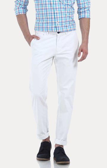 Basics | White Solid Straight Chinos