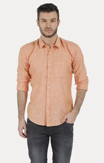 Basics | Orange Melange Casual Shirt