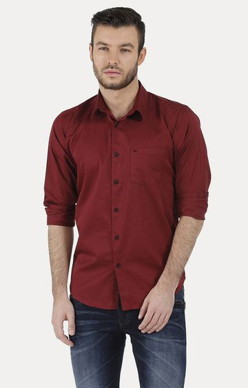Basics | Red Solid Casual Shirt