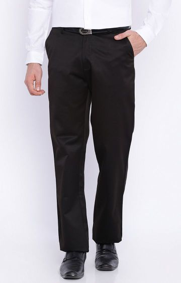 Basics | Black Solid Flat Front Formal Trousers