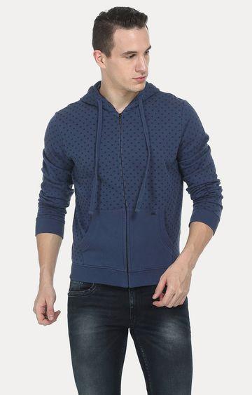 Basics   Blue Printed Hoodie