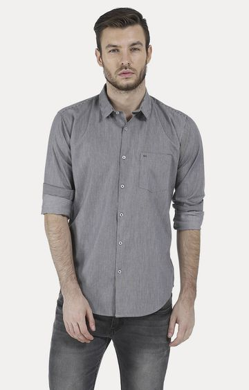 Basics | Grey Melange Casual Shirt