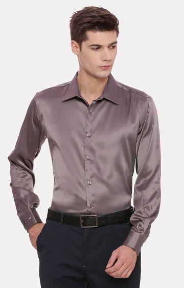Basics | Grey Solid Formal Shirt